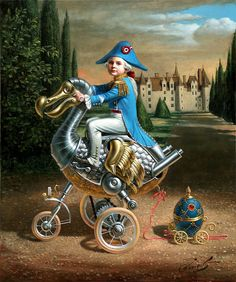 Michael Cheval - absurdity surreal illusion oil paintings [Dodo bird on the wheels]