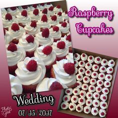 Wedding.  Raspberry w/fresh raspberries.  07/15/2017 #cupcakes #wedding