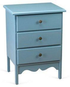 Darla Classic Nightstand, Blue -- Finished in a soft shade of blue, this three-door end table will bring a welcome touch of color (and extra space for storage) to the room.