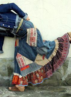 Crazy banjara patchwork recycled denim long skirt  hippie boho