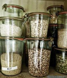 Legumes and Grains stored in Weck Jars | @Susan Salzman | www.theurbanbaker.com