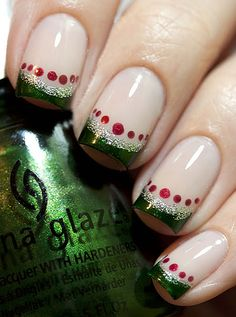 festive holiday french mani