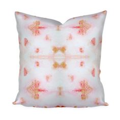 Designer Pink Gold and White Pillow Cotton or Belgian Linen Throw Pillow, Accent…