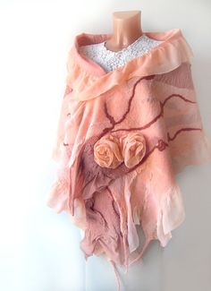 Nuno felted scarf ruffle  Apricot coral Rose flower by galafilc, $114.00