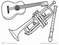 Preschool Life Learning Worksheets: Music Coloring Page