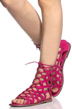 Fuchsia Faux Suede Laser Cut Out Lace Up Sandals Lace Up Sandals d0b3fdab4e4