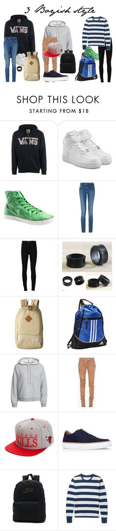 """boyish style"" by book-lover-0918 on Polyvore featuring Vans, NIKE, Unstitched Utilities, Calvin Klein, Frame Denim, NOVICA, Herschel Supply Co., adidas, T By Alexander Wang and Balmain"