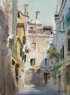 """By Lin Shao Ling (林邵永灵), from China (b. 1957) - watercolor - [from his Gallery """"Venice""""] A member of the Chinese Artists Association"""