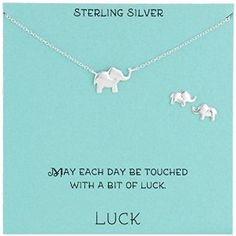 Sterling Silver Elephant Necklace and Earrings Jewelry Set | Amazon.com