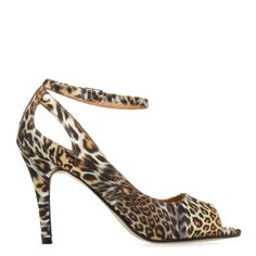 Sherah by ShoeDazzle! Leopard-print fabric peep-toe pump with cutouts and adjustable ankle strap
