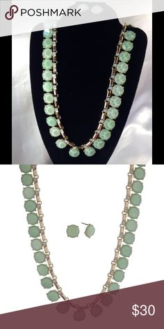 Faux Jade Toned Necklace Set This gorgeous set features jade toned stones and features opal rhinestone accents set on gold tone necklace with matching stud earrings. Measures 16 inches long. (This closet does not trade or use PayPal) Jewelry Necklaces