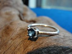 London Blue Topaz Sterling Silver Ring.  The stone is 5mm.  Size 6.5