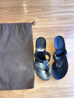 6b83e57454056c Gucci Sandal with heel Black Sz 6B PREOWNED comes with Original Duster   fashion  clothing