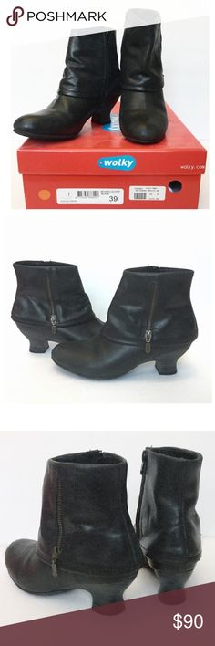 "Wolky 'Saltaburg' Brushed Leather Ankle Boots Wolky 'Saltzburg' Black Leather Ankle Boots Cleverly designed w fold over cuff detail  Black brushed waterproof leather  1.75"" stack heel w  non slip sole Stylish side zips w 6"" shaft Leather lined w anatomical shaped Footbed Sz. 8M EXC Cond - Only wore twice. 