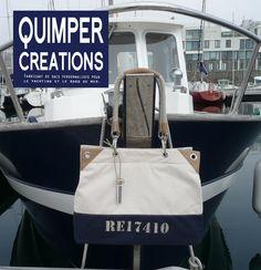 """Sac en toile et cuir, pour concevoir ce sac, Quimper Créations s'est inspiré de la """"Belle Plaisance""""."""