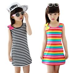 Summer Girls Dresses Cotton Casual Children Clothing Sleeveless Striped Baby Clothes For Girls Bow O-Neck Robe Princesse Enfant Baby Girl Party Dresses, Girls Dresses, Teenage Girl Outfits, Kids Outfits, Girl Sleeves, Girls Bows, Baby Girls, Summer Girls, Girl Fashion