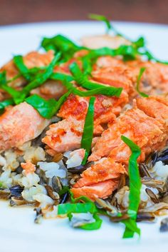 Japanese style salmon baked in Sake sauce, served over wild rice.  Skinny, low-calorie, low-carb recipe