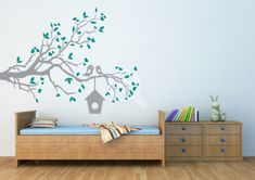 Loving Sparrows with a Bird House Wall Sticker by K & L Wall Art - revive your walls with our Wall Stickers and Wall Graphics. Easy to install for your home, office, classroom, and nursery. Teal Nursery, Bird On Branch, House Wall, Home And Living, Wall Stickers, Baby Room, Colours, Wall Art, Home Decor