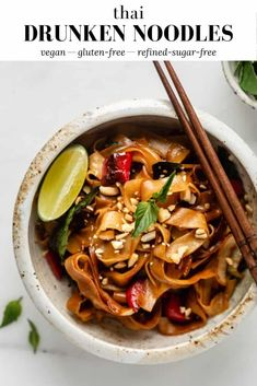 These Thai Drunken Noodles are made with Thai basil and fresh chili peppers, two key ingredients that capture the classic Thai food essence! # Food and Drink vegetarian Thai Drunken Noodles Vegetarian Recipes Easy, Thai Recipes, Asian Recipes, Cooking Recipes, Healthy Recipes, Vegetarian Meal, Drink Recipes, Dinner Recipes, Thai Drunken Noodles