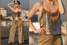 Awesome 80s Sexy Gold Sequin Beaded Low Back Top by VINTAZIAVintage, $138.00