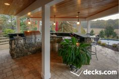 Under deck outdoor kitchen by pool Ellicot City outdoor living Curved Pergola, Steel Pergola, Deck With Pergola, Pergola Plans, Diy Pergola, Pergola Kits, Pergola Ideas, Outdoor Spaces, Outdoor Living