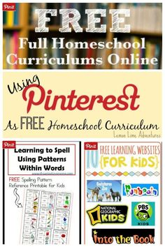 Using Pinterest as Free Homeschool Curriculum. 5 must follow boards and more! Great Resource!