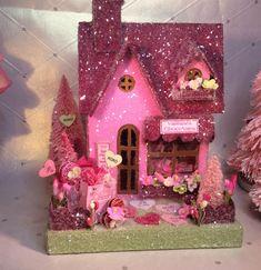 Valentine Putz Candy Shop( Medium) in Dark Rose & Pink by glitteratmidnight on Etsy https://www.etsy.com/listing/572638976/valentine-putz-candy-shop-medium-in-dark