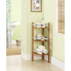 Design the perfect bathroom with these convenient and eco-chic bamboo shelves. A perfect fit in any corner, the Bamboo Bathroom Shelves Unit by Altra features three or five shelves for holding soaps, lotions, towels and other bathroom essentials.