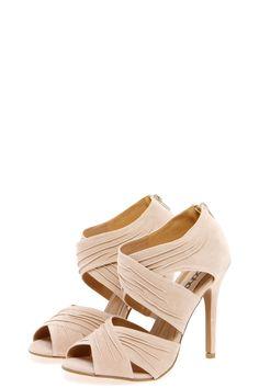 Jerricca Beige Cross Strap Peeptoe Heels at boohoo.com