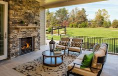 drees homes... covered porch with fireplace opens right into the main living area... love it!
