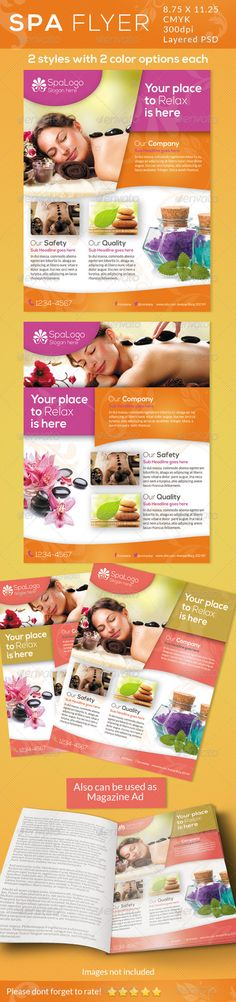 Spa Flyers / Print Ad  #GraphicRiver        Spa Flyers / Print ad  This Flyer Can be used in any Business like spa,day spa,beauty etc  Can be used as a Flyer or Magazine ad.    CMYK Color profile  8.75×11.25 including 0.25 bleed  300 DPI  Easy to Edit  Logo Included  2 PSD Files  Organized layers  Ready to print  Free Fonts  2 options with 2 different color schemes   Font Used:  Lato and Nexa
