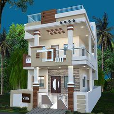 Latest home front design House Balcony Design, 3 Storey House Design, Kerala House Design, Bungalow House Design, House Front Design, Small House Design, Modern Exterior House Designs, Latest House Designs, Modern House Facades