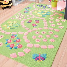 Pretty pink and green rug for little girls room. Fairy Theme Room, Fairy Room, Playroom Rug, Playroom Ideas, Garden Bedroom, Green Home Decor, Girls Bedroom, Bedroom Ideas, Little Girl Rooms