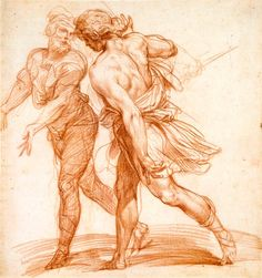 Giuseppe Cesari gen. Cavaliere d'Arpino (1568–1640), Zwei nach links eilende Männer, um 1600, Rötel