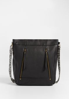 crossbody bag with guitar strap in black
