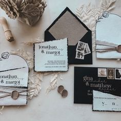 A modern vibe, a simplistic vibe, a moody vibe... ✔️ Going with an intimate wedding allows for some details and pieces to be stripped away from the suite. Creating an exclusive feeling for your guests. 🖤 One of the elements we loved and want to share with all couples. Have the names of your guests individually printed on each reply card. That way if you get a blank - you know who to reach out to (without needing to number the backs) - plus it adds a thoughtful element. ✔️ Custom Stationery, Stationery Design, Custom Invitations, Wedding Invitation Suite, Place Card Holders, Modern, Prints, Handmade, Etsy