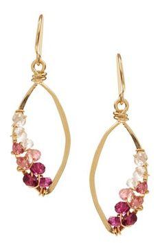 HauteLook | Rafia: Swarovski Crystal Hammered Small Marquise Hoop Earrings