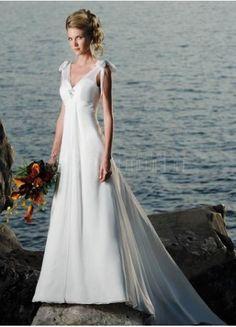 Beautiful Beach Wedding Dress - V-Neck Chiffon A-Line Bow Chapel Train - See more here -> http://www.weddingbuddy.net/category/wedding-dresses/beach-wedding-dresses/    #fashion #wedding #cute #wedding_dress #dress