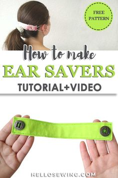 DIY Ear Saver for Face Masks / Ear Guards for Nurses - learn the easiest way to hand or machine sew on buttons for the ear guards and you'll be able to w - Face Masks For Kids, Easy Face Masks, Homemade Face Masks, Diy Face Mask, Face Diy, Face Face, Coin Couture, How To Make Buttons, Fabric Scraps