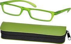 Lesebrille-Unisex-Federscharnier-Kunststoff-Lesehilfe-Brille-Reissverschlussetui