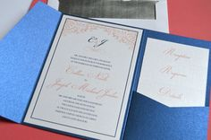 Sapphire & coral pocket wedding invitations by Something Printed