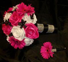 Silk Hot Pink White Black Bouquet Wedding Set