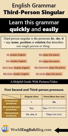 Improve English Grammar, Study English Grammar, Improve Your English, English Phrases, English Words, English Vocabulary, Teaching English, The Third Person, German Language