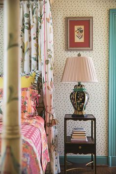 Bedside Lamp - An irreverent take on English country-house style - a home filled with outlandish pattern and colour - real homes on HOUSE by House & Garden Home Bedroom, Bedroom Decor, Interior Decorating, Interior Design, Country Style Homes, Shabby, Bedroom Styles, Of Wallpaper, Beautiful Bedrooms
