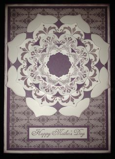 Mother's Day card using Stampin' Up! Wisteria Wonder ink and card stock, Floral Frame Framelits and Daydream Medallions.