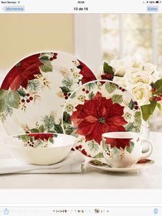 Jídelní sada * porcelán s vánoční růží ♥