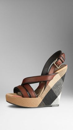 Burberry Canvas Check Leather Platform Wedges