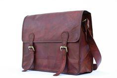 Leather Messenger Bag / Satchel - Vintage Retro Looking - (Large - CUR). $95.00, via Etsy.