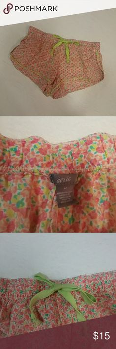 [Aerie] Pink Floral Comfy Cotton PJ Short Shorts Adorable PJ shorts from Aerie! Perfect for sleeping or just lounging around!  Item is in excellent used condition! Offers and bundles always welcome! aerie Intimates & Sleepwear Pajamas
