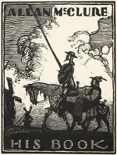 W. Mattony. Don Quixote. Ex Libris for Allan McClure.